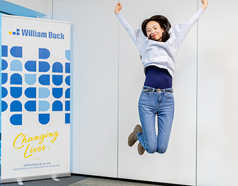 Jumping with joy at work