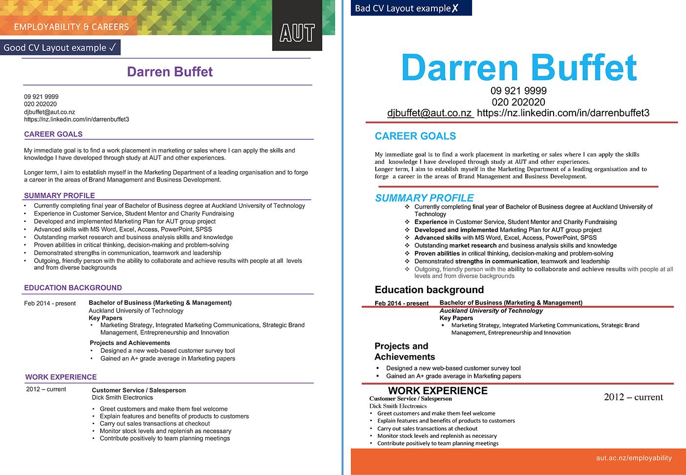 CV comparison good and bad