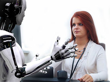 Doctor working with digital robot