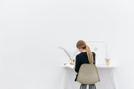 at desk
