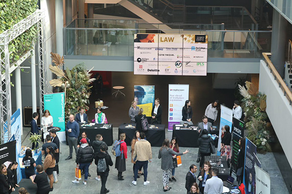 Law Career Fair crowd scene from above
